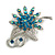 Sapphire Coloured Crystal Floral Brooch