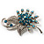 Sapphire Coloured Crystal Floral Brooch - view 3