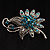 Sapphire Coloured Crystal Floral Brooch - view 5