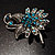 Sapphire Coloured Crystal Floral Brooch - view 8
