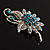 Sapphire Coloured Crystal Floral Brooch - view 9