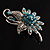 Sapphire Coloured Crystal Floral Brooch - view 10