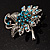 Sapphire Coloured Crystal Floral Brooch - view 11
