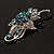 Sapphire Coloured Crystal Floral Brooch - view 7