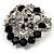 Striking Diamante Corsage Brooch (Black&Clear) - view 3