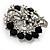 Striking Diamante Corsage Brooch (Black&Clear) - view 5