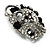 Striking Diamante Corsage Brooch (Black&Clear) - view 7