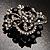 Striking Diamante Corsage Brooch (Black&Clear) - view 2