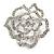 Stunning Clear Crystal Rose Brooch