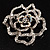 Stunning Clear Crystal Rose Brooch - view 5