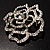 Stunning Clear Crystal Rose Brooch - view 7