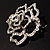 Stunning Clear Crystal Rose Brooch - view 6