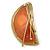 Orange Crescent Moon Ethnic Brooch - view 3