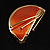 Orange Crescent Moon Ethnic Brooch - view 4
