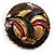 Three-Colour Shield-Shaped Ethnic Brooch (Gold, Red&Brown) - view 2