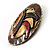 Three-Colour Shield-Shaped Ethnic Brooch (Gold, Red&Brown) - view 3