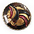 Three-Colour Shield-Shaped Ethnic Brooch (Gold, Red&Brown) - view 5