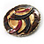 Three-Colour Shield-Shaped Ethnic Brooch (Gold, Red&Brown) - view 6