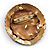 Three-Colour Shield-Shaped Ethnic Brooch (Gold, Red&Brown) - view 9