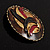Three-Colour Shield-Shaped Ethnic Brooch (Gold, Red&Brown) - view 4