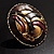 Three-Colour Shield-Shaped Ethnic Brooch (Gold, Red&Brown) - view 8