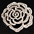 Oversized Clear Crystal Rose Brooch - view 8