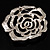 Oversized Clear Crystal Rose Brooch - view 6