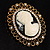 Vintage Antique Gold Cameo Crystal Brooch - view 5