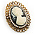 Vintage Antique Gold Cameo Crystal Brooch - view 9