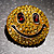 Round Yellow Crystal Smiling Face Brooch - view 7