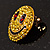 Round Yellow Crystal Smiling Face Brooch - view 9