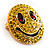 Round Yellow Crystal Smiling Face Brooch - view 2
