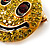 Round Yellow Crystal Smiling Face Brooch - view 5