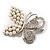 Unique Faux Pearl Crystal Butterfly Brooch - view 6