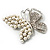 Unique Faux Pearl Crystal Butterfly Brooch - view 7