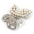 Unique Faux Pearl Crystal Butterfly Brooch - view 4