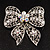 Large Crystal Filigree Bow Brooch - view 6