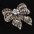 Large Crystal Filigree Bow Brooch - view 7