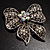 Large Crystal Filigree Bow Brooch - view 4