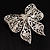 Large Crystal Filigree Bow Brooch - view 2