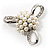 Fancy Simulated Pearl Bow Brooch - view 2