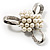 Fancy Simulated Pearl Bow Brooch - view 4