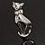 Silver Tone Sitting Cat Brooch