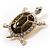 Fortunate Crystal Enamel Turtle Brooch (Gold&Olive) - view 7