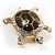 Fortunate Crystal Enamel Turtle Brooch (Gold&Olive) - view 2
