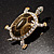 Fortunate Crystal Enamel Turtle Brooch (Gold&Olive) - view 11