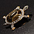 Fortunate Crystal Enamel Turtle Brooch (Gold&Olive) - view 9