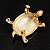 Fortunate Crystal Enamel Turtle Brooch (Gold&Olive) - view 10