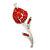 Red Crystal Calla Lily Brooch In Rhodium Plating