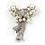 Elegant Imitation Pearl Crystal Butterfly Brooch - view 2
